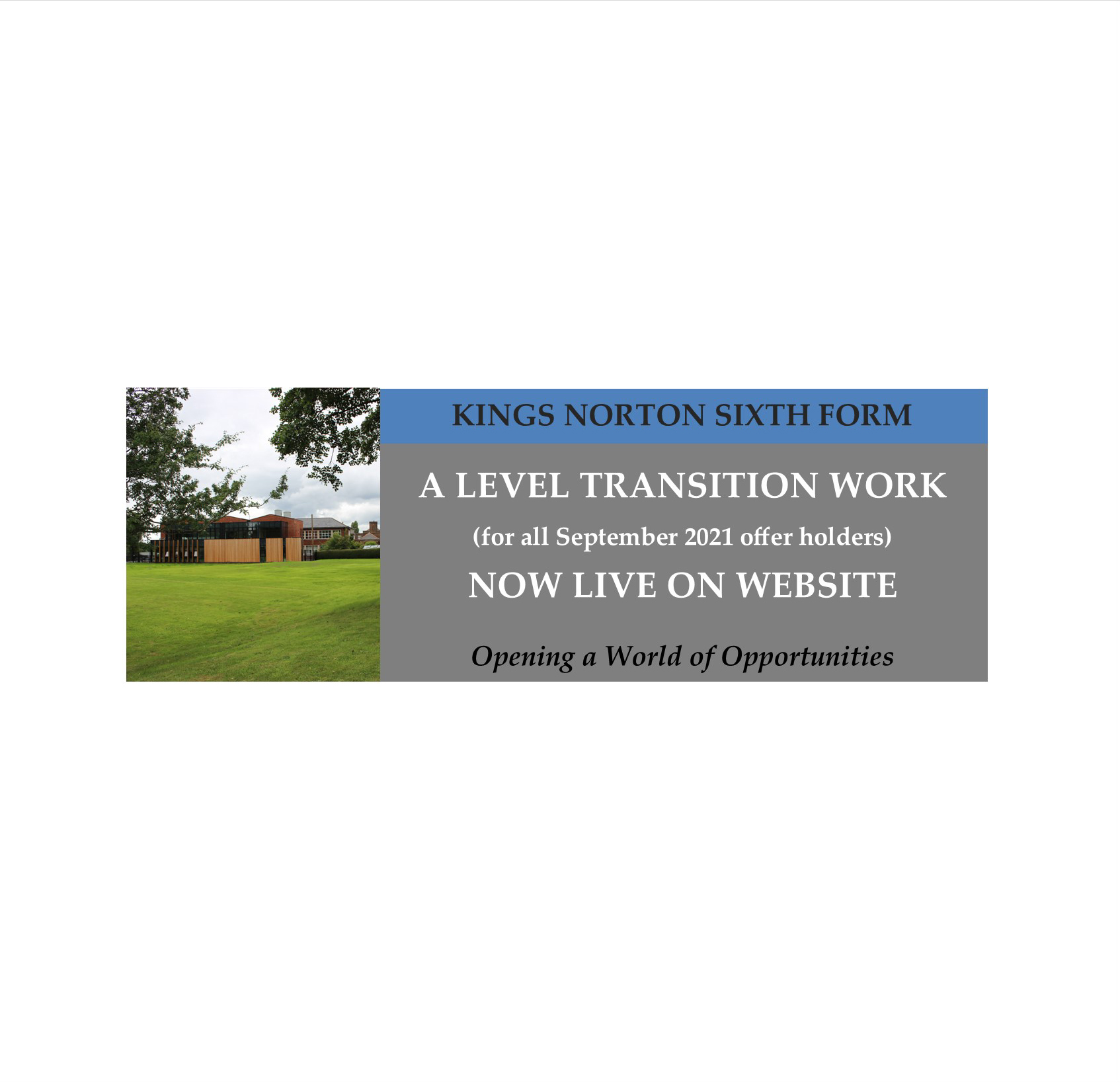 A Level Summer Work Live website banner