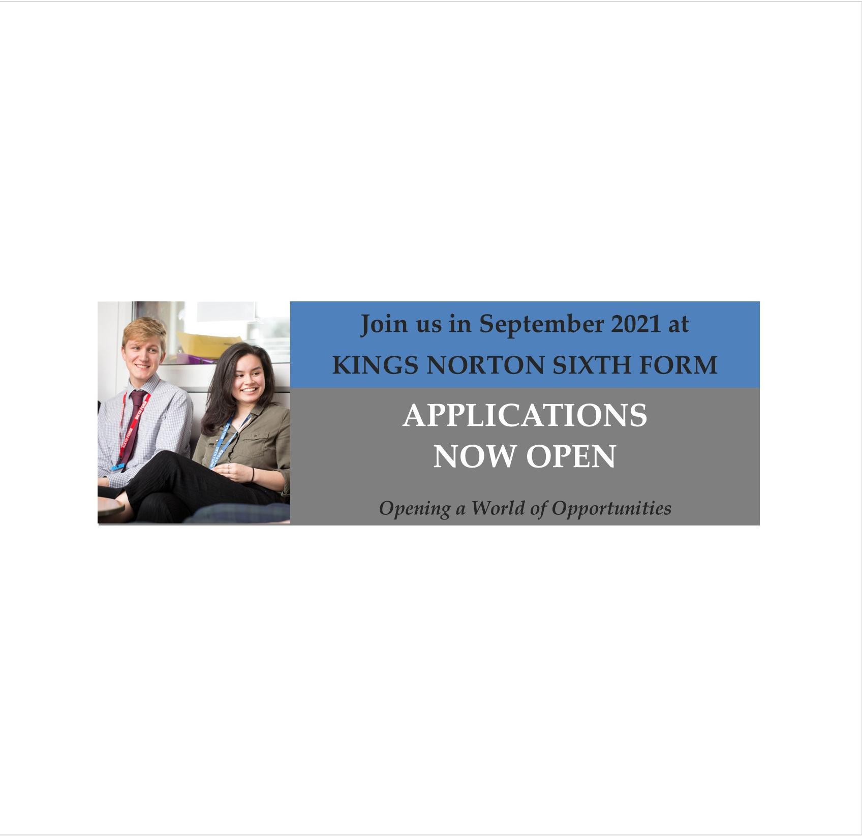 Applications Open Oct 2020 website
